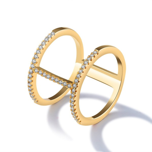 LOHOME Fashion Rings 18K Gold Tone Double Loop Rhinestone Charm Index Finger Ring for Womens - CD17YYEXN7M