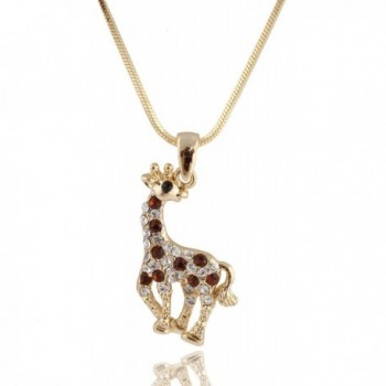 Goldtone with Brown Iced Out Giraffe Pendant with a 16 Inch Snake Franco Necklace Chain (B-343) - C211BK2IMA3