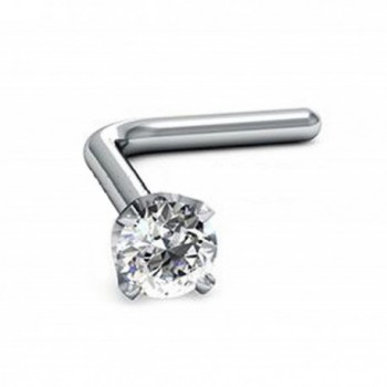 1.5mm Round-Cut-Diamond and 18K White Gold L-Shaped Nose Pin/ Stud - CK17YTT96L5