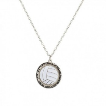 Lux Accessories Volleyball I Can Do All Things Through Jesus Christ Who Strengthens Me Sport Necklace. - CU129GCMBZB