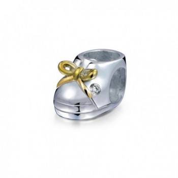 Bling Jewelry Gold Plated Baby Shoe Charm 925 Sterling Silver Family Bead for European Bracelet - CD1156G622Z